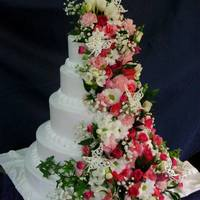 Fragrant Cake 5 tier wedding cake with fresh flowers. Thank you for looking :)