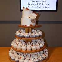 Elegant Fall Wedding 2 tiered with 200 cupcakes. all decorations handmade with gumpaste except the burlap roses.