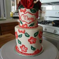 Red Floral Mom Cake   *