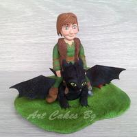 Hiccup And Toothless Cake Topper