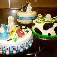 'science And Cow' Stepped Wedding Cake