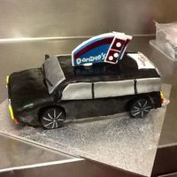 Stationwagon Themed Cake With A Dominos Pizza Logo For A 50 Th Birthday   Side on view ,finished!