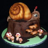 Snail Cake Snail Cake made for my niece and nephew, 2 layer butterscotch cake for the tree trunk, snail is rice krispies shell and modeling chocolate...