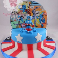 Double Sided Star Wars Yoda And Captain America Cake Double sided star wars yoda and captain America cake