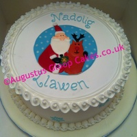Royal Iced Christmas Fruit Cake With Royal Icing Runout And Piping
