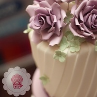 Purple Roses Wedding Cake With Edible Silver Leaf And Hydrangea Purple roses wedding cake with edible silver leaf and hydrangea