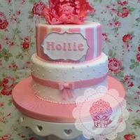 Peonie Christening Girls Cake Peonie christening girls cake