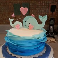 Fondant Wave And Whale Cake For A Friends Baby Shower   Fondant wave and whale cake for a friend's baby shower.