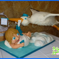Flying Stork Delivers A Baby (Gravity Defying Cake)