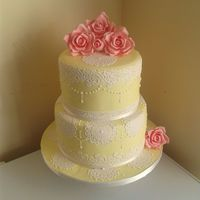 My 3Rd Wedding Cake Ive Ever Made Novice Baker Spring Colour Themes With With Sugarlace Vintage Roses And Royal Icing Accents   My 3rd wedding cake ive ever made, novice baker. spring colour themes with with sugarlace, vintage roses and royal icing accents :)
