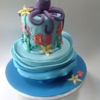 Under The Sea   First attempt at a wave ruffle cake.