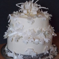Fast And Easy Wedding Cake I had one weeks notice for this wedding cake....short notice for me! Bride wanted Blueberry cake, cream cheese frosting and preferred no...