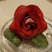 Two Tone Gumpaste Rose With Isomalt Dew Drops Two-tone gumpaste rose with isomalt dew drops
