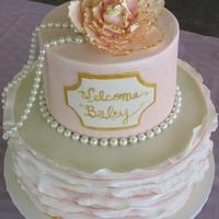 Small Round Baby Shower Cake A very dear friend is expecting her first granddaughter and I was delighted to make this cake!Hand dusted/painted-- Sugar peony and ruffles...