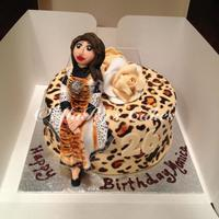 Leopard Print Cake With Edible Figurine Customer Requested Figurine To Wear Exact Clothing As Birthday Girl Leopard Print cake with edible figurine. Customer requested Figurine to wear exact clothing as birthday girl.