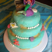 Little Mermaid Cake And Allergen Free Beach Cupcakes Cake inspired by the many examples here on Cake Central . Used homemade Marshmallow fondant ( subsituting 1/4 cup cornstarch for conf....