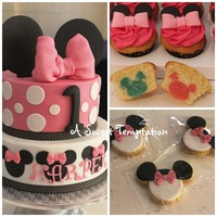 Minnie Mouse First Birthday! Chocolate Mud with Dark Chocolate ganacheVanilla Cupcakes with double baked vanilla mouse inside - vanilla buttercreamSugar Cookies with...