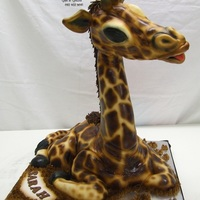 Baby Giraffe, My Very First Gravity Defying Cake. My baby Giraffe, made front vanilla cake and fondant.