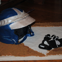 Home Plate! Cake for my sons baseball auction; Helmet is fondant covered cake. Home plate, batting gloves, and dirt are entirely sugar.