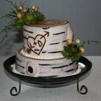 Burch Tree Bridal Shower Cake With There Initials Carved Into It Im Also Going To Be Making There Rustic Wedding Cake *Burch tree bridal shower cake with there initials carved into it (I'm also going to be making there rustic wedding cake)