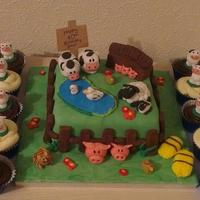 Farmyard Cake And Cow Cupcakes *