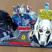 The Ultimate Star Wars Cake The main characters I molded out of rice Krispies and decorated with fondant.