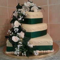 White/green And Light Champagne Themed Wedding Cake *