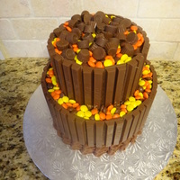 Candy Cake Candy cake- chocolate cake with peanut butter mousse, vanilla cake with caramel buttercream, iced with chocolate ganache, chocolate...