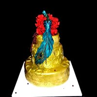 18Ct Gold Airbrushed Wedding Cake Cake airbrushed with real 18ct gold by Leiticia Rice