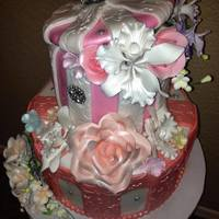 Sugar Flowers Birthday Cake *Sugar flowers on two tiers. Birthday cakewww.ArizonaBirthdayCakes.com