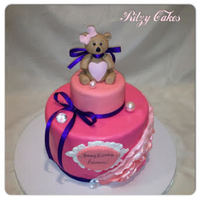 Sugar Bear Pink Birthday Cake Hand-molded sugar bear and pink cake by Leiticia Pestova at Ritzy Cakes