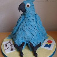 Blu *sculpted cake covered in fondant feathers... A birthday cake for a very good young man with autism