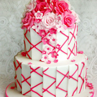 Contemporary Hot Pink Wedding Cake Contemporary hot pink wedding cake