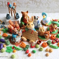 Garden & Rabbit Theme Cake Toppers Fondant 3D Cupcake Toppers