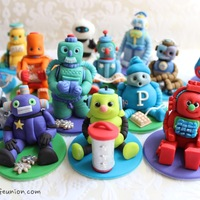 Robot Factory Fondant Cupcake Toppers