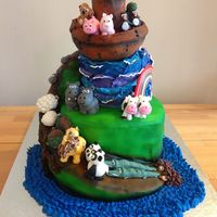 Noah's Ark Madeira base, spiral cut using tutorial from CC entitled 'how to save time cutting a spiral cake'. Chocolate second tier, RKT ark...