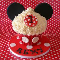 Mickey Mouse Themed Vanilla Giant Cupcake For A Little Boys First Birthday Party   Mickey Mouse themed vanilla giant cupcake for a little boy's first birthday party!
