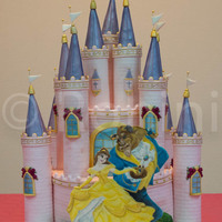 The Request Was For A Light Pink Castle Cake With Beauty And The Beast Both Tiers Are Chocolate Layer Cakes Filled With Dark Chocolate Mous... The request was for a light pink castle cake with Beauty and the Beast. Both tiers are chocolate layer cakes filled with dark chocolate...