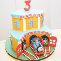 My First Ever Thomas The Train Cake Made For My Sons 3Rd Birthday His Request Was For A Chocolate Cake Covered In Orange Sugarpaste With T... My first ever Thomas the train cake made for my son's 3rd birthday. His request was for a chocolate cake covered in orange sugarpaste...
