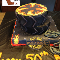 Harley Cake Harley Davidson cake with fondant tire tread and a fondant chain