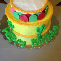 Mexican Themed Cake Buttercream cake with gumpaste circle and buttercream cacti