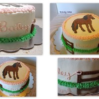 Horse Cake Chocolate and vanilla cake with buttercream fence and grass and a FBCT horse. First FBCT I actually made successfully! The fence was made...