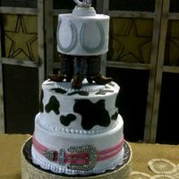 Western Wedding Cake By Robyn Montgomery *I made this cake for a friend's wedding. It is almond white cake with buttercream. Horseshoe, cow-print and belt are fondant. Stand...