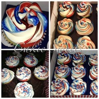 Red White And Blue Swirl Cupcakes Red, White and Blue swirl cupcakes.