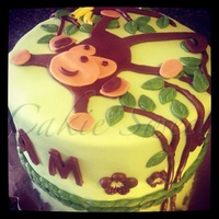 Welcome Home/baby Shower Cake Monkey cake in the cake and cupcake set with monkey theme.