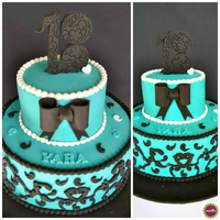 Tiffany Blue & Black Arabesque Lace *