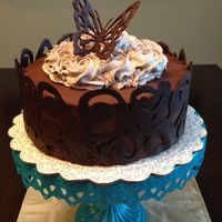Chocolate Adventures Brandy soaked chocolate cake layered with raspberry filling and whipped chocolate brandy ganache.