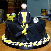 Motorbike Cake My friend asked me to make a cake for her dad's 60th. He races motorbikes and the bike, him and the helmet were based on photos she...