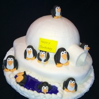 Penguin & Igloo Cake For Sisters Birthday This cake has a special Charlotte Cake fill to Which i Added Cream Puffs to make it perfect
