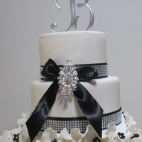 Black And White Wedding Cake With Bling Black and White wedding cake with bling